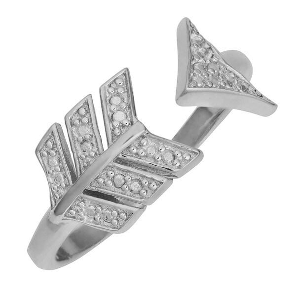 Fremada Rhodium over Sterling Silver Diamond Accent Arrow Ring