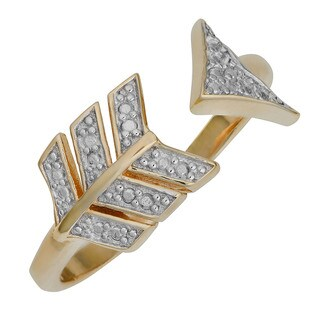 Fremada Two-tone Sterling Silver Diamond Accent Arrow Ring