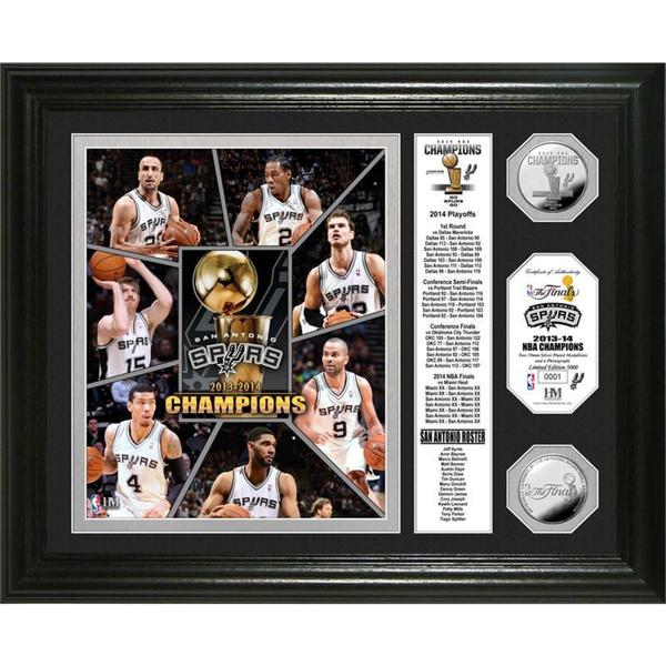 San Antonio Spurs 2014 NBA Finals Champions Banner Silver Coin Photo Mint