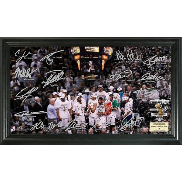 San Antonio Spurs 2014 NBA Finals Champions Celebration Signature Court Photo