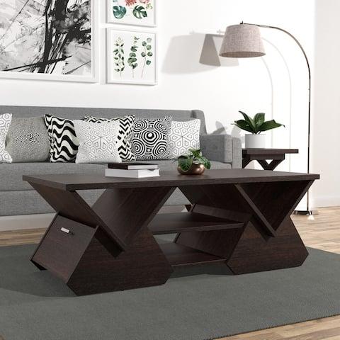 Furniture of America Fore Modern Espresso Geometric Coffee Table