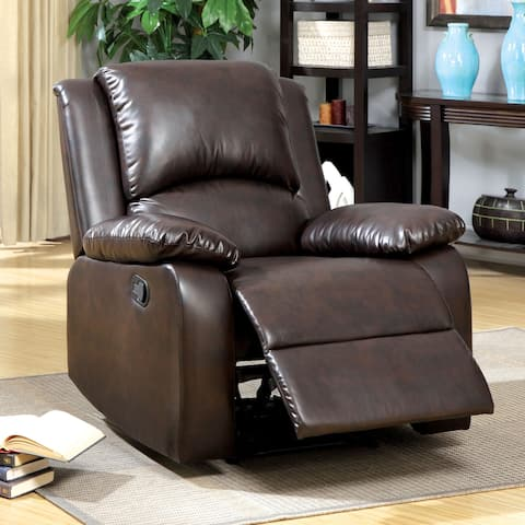 Furniture of America Rald Transitional Brown Faux Leather Recliner