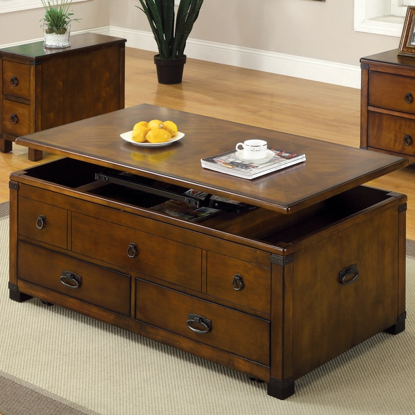 Furniture Of America Olsen Antique Oak Lift Top Coffee Table Free