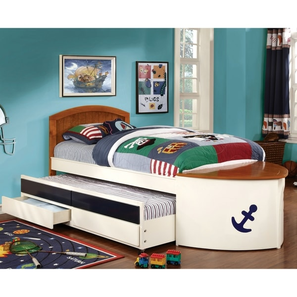 Nautical Bunk Beds: Shop Furniture Of America Capitaine Boat Twin Bed With