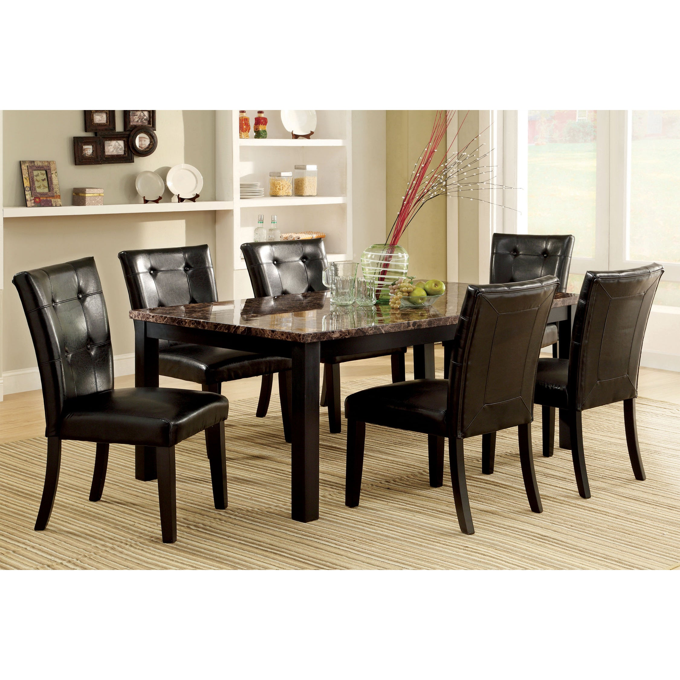 Furniture of America Perthien 7-Piece Faux Marble Dining ...