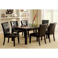 Furniture of America Perthien 7-Piece Faux Marble Dining Set