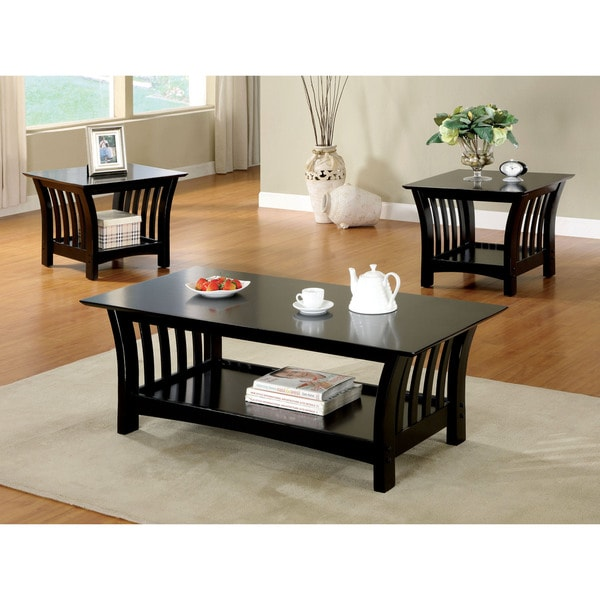 shop furniture of america marlenie 3 piece black transitional accent table set free shipping. Black Bedroom Furniture Sets. Home Design Ideas