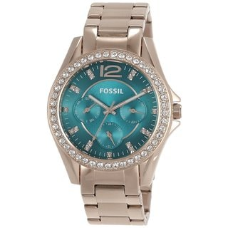 Fossil Women's ES3385 'Riley' Turquoise Dial Rose Goldtone Watch