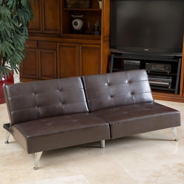 Alston Click Clack Oversized Convertible Faux Leather Sofa By Christopher  Knight Home