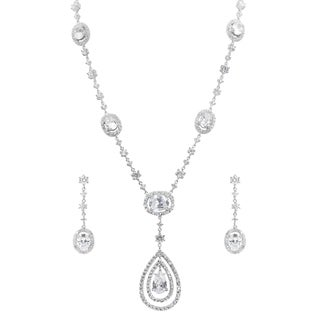 Journee Collection Brass Cubic Zirconia Drop Jewelry Set