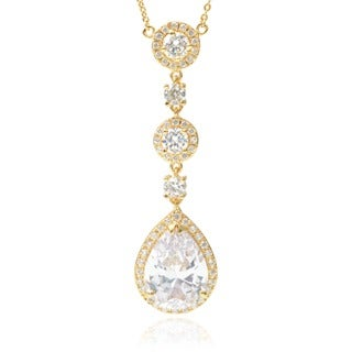 Journee Collection Goldtone Cubic Zirconia Drop Pendant