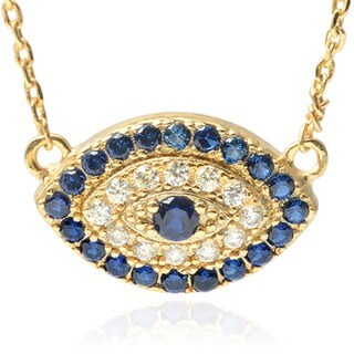 Journee Collection Goldtone Cubic Zirconia Evil Eye Pendant