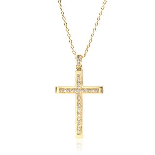 Journee Collection Goldtone Cubic Zirconia Cross Pendant