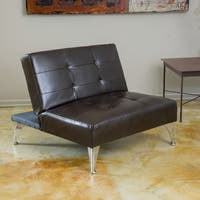 Alston Click-Clack Oversized Convertible Leather Ottoman Chair by Christopher Knight Home