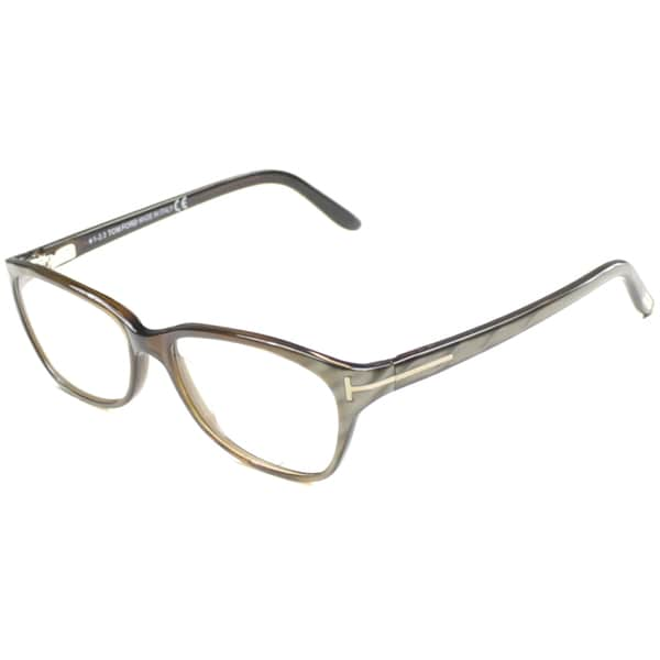 7b86b962420 Tom Ford Men  x27 s TF5142 FT5142 050 Striped Olive Brown Rectangle Plastic  Eyeglasses