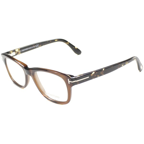e9c2d556508d Tom Ford Unisex TF5147 FT5147 050 Dark Brown Havana Rectangle Plastic  Eyeglasses