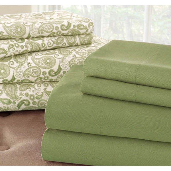 Amraupur Overseas Solid and Print 8-piece Microfiber Sheet Set (More Colors Available)
