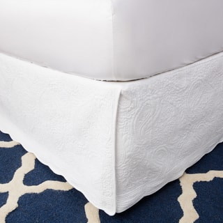 Greenland Home Fashions White Paisley Quilted 18-inch Drop Bedskirt|https://ak1.ostkcdn.com/images/products/9173140/P16349502.jpg?impolicy=medium