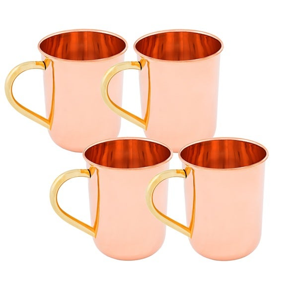 Old Dutch Solid Copper14 oz. Unlined Straight-sided Moscow Mule Mugs (Set of 4)