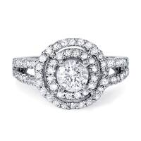 14k White Gold 1 1/4ct TDW Diamond Double Round Halo Vintage-style Engagement Ring