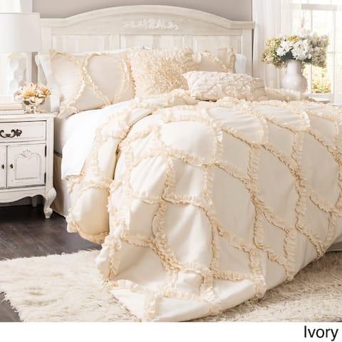 Lush Decor Avon Ruffled White 3-piece Comforter Set