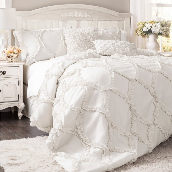 Lush Decor Avon Ruffled White 3-piece Comforter Set. Opens flyout.