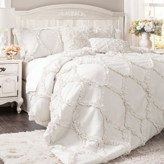 Lush Decor Avon Ruffled White 3-piece Comforter Set