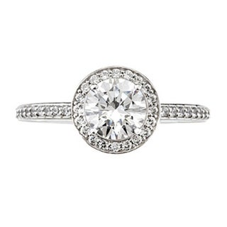 14k White Gold 1ct TDW Diamond Halo Vintage-style Engagement Ring