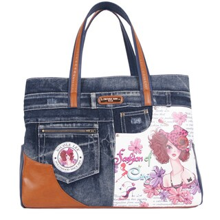Nicole Lee Wanda Sunny White Print Overnighter with Laptop Compartment