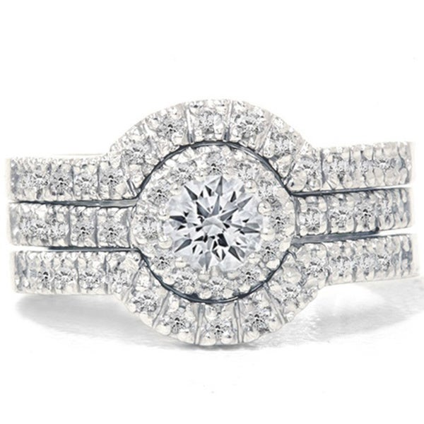 14k white gold 1 14ct tdw diamond halo bridal ring set - Halo Wedding Ring Set