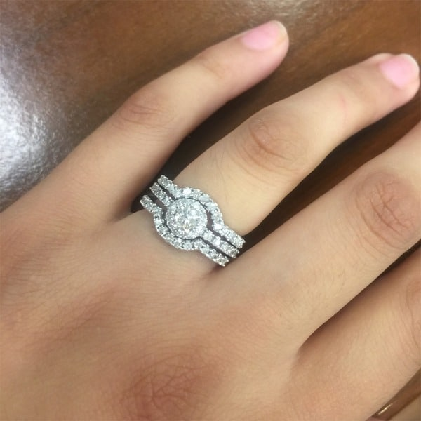 14k white gold 1 14ct tdw diamond halo bridal ring set free shipping today overstockcom 16349632 - Halo Wedding Ring Set