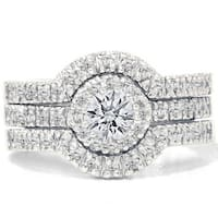 14k White Gold 1 1/4ct TDW Diamond Halo Bridal Ring Set