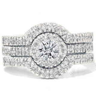 14k White Gold 1 1/4ct TDW Diamond Halo Bridal Ring Set (More options available)
