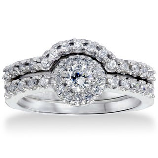 14k White Gold 1ct TDW Diamond Halo Bridal Set