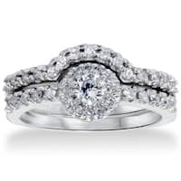 14k White Gold 1ct TDW Diamond Halo Bridal Set