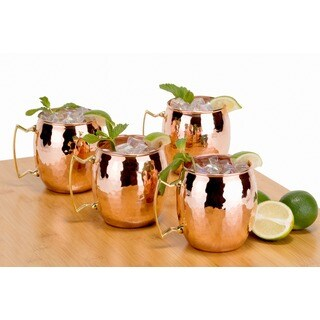 Old Dutch Unlined Hammered Finish Solid Copper 16 oz. Moscow Mule Mugs (Set of 4)