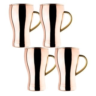 Old Dutch Solid Copper16 oz. Unlined Fountain Style Moscow Mule Mugs (Set of 4)