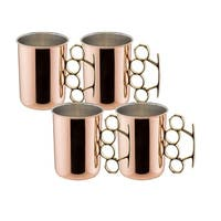 Old Dutch Solid Copper 16 oz. 'Brass Knuckle' Moscow Mule Mugs (Set of 4)