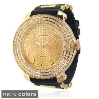 Geneva Platinum Men's Silicone Rhinestone Watch