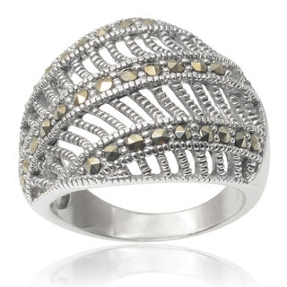 Journee Collection Brass Created Marcasite Ring