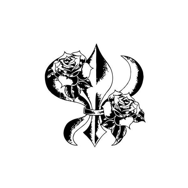 Fleur-de-lis with Roses Vinyl Wall Art