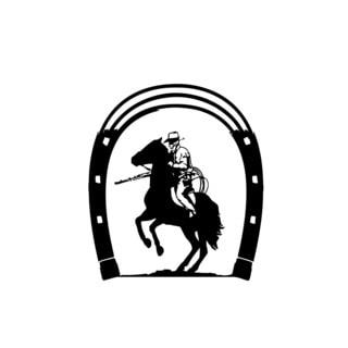 Cowboy Under Horseshoe Vinyl Wall Art
