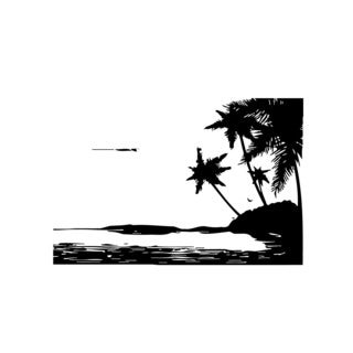 Ocean Beach with Palm Trees Vinyl Wall Art