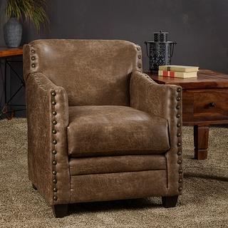 Somette Saddle Leatherette Nailhead Trim Accent Club Chair