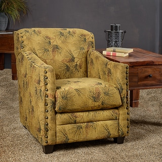Somette Lodge Pine Sage Fabric Nailhead Trim Accent Club Chair