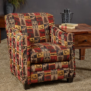 Somette Lodge Red Fabric Nailhead Trim Accent Club Chair