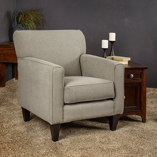 Somette Eli Grey Solid Fabric Track Arm Accent Club Chair