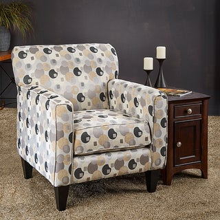 Somette Eli Geo Silver Fabric Track Arm Accent Club Chair