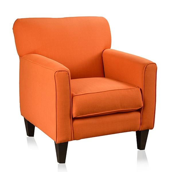 Shop Somette Eli Solid Orange Fabric Track Arm Accent Club