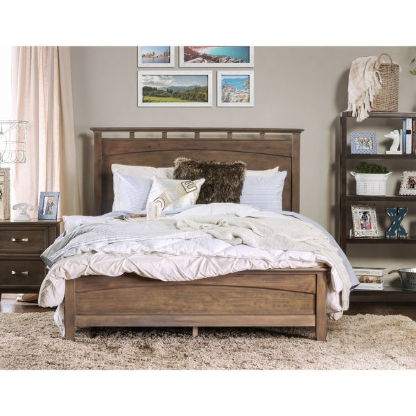 Furniture of America Reas Contemporary Oak Solid Wood Panel Bed